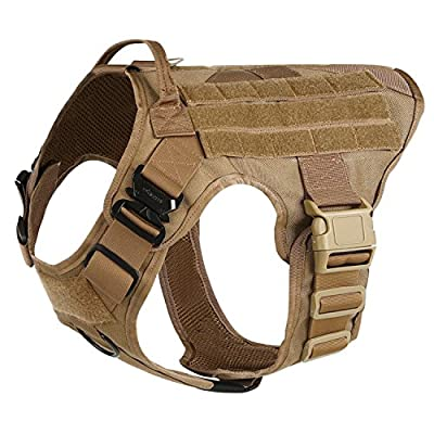ICEFANG Tactical Dog Harness ,K9 Working Dog Vest,No Pull Front Leash Clip D-ring,Unbreakable Snap-proof