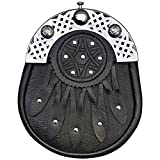 Brand New Celtic Design Black Leather Sporran With Celtic Cantel
