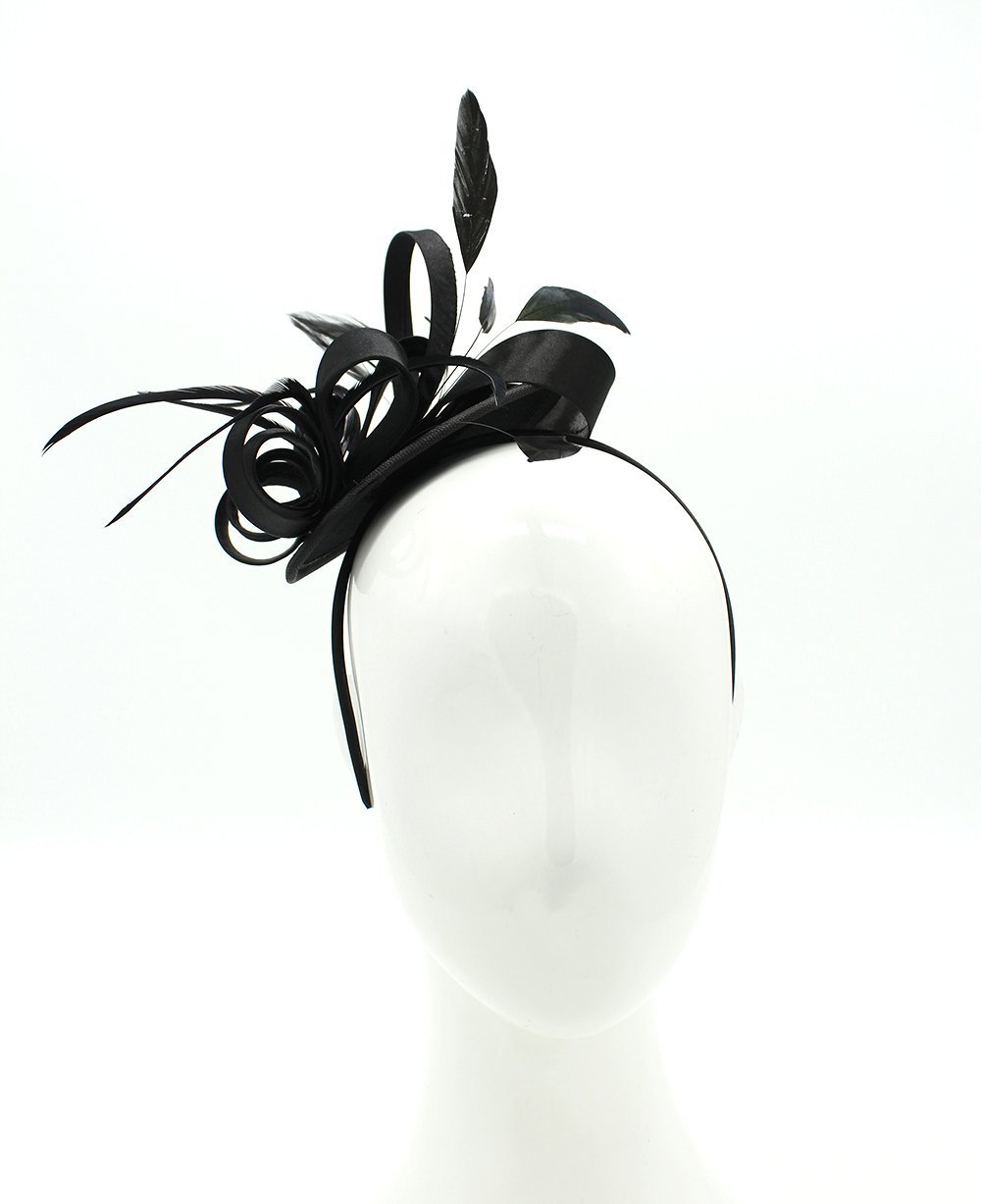 Felizhouse Fascinator Hats for Women Ladies Feather Cocktail Party Hats Bridal Headpieces Kentucky Derby Ascot Fascinator Headband (Black) by Felizhouse (Image #2)