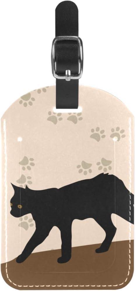Etiquetas de equipaje de piel con gato y patas negras para maleta de viaje, 1 paquete