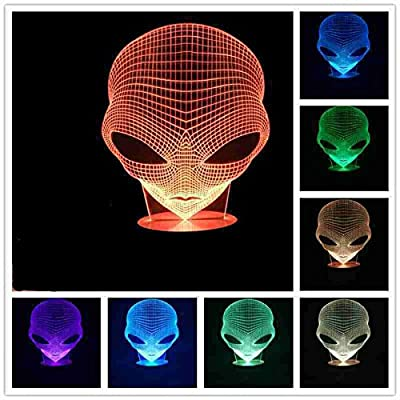 3D Lamp USB Power 7 Colors Amazing Optical Illusion 3D Grow LED Lamp Alien Shapes Children Bedroom Night Light