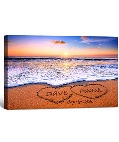 (Love on Beach - Personalized Canvas Prints with Couple's Names on it, for Anniversary, Wedding, Valentine's Day. 24x16)