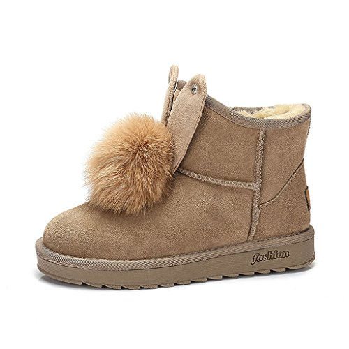 Women's snow boots winter boots casual students warm women flat shoes ( Color : Brown , Size : US:6.5\UK:5.5\EUR:38 )