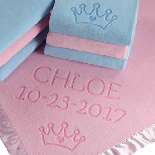 Custom Catch Princess Baby Blanket for Girls - Toddler Girl Crib Bedding, Receiving Blankets (Pink, Blue: 2 Text Lines)