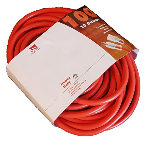 NBWELL 100 Ft 10 Gauge Extension Power Cord 10/3 Lighted End
