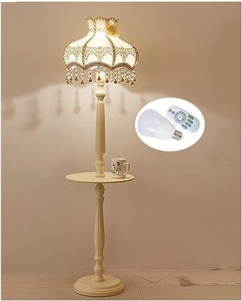 WB_L Lámparas de pie Lámpara de pie salón dormitorio estudio jardín de madera maciza tela de encaje lámpara de pie interruptor de pie: Amazon.es: Iluminación