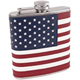 American Flag Flask in Stainless Steel and Faux Leather by Foster and Rye