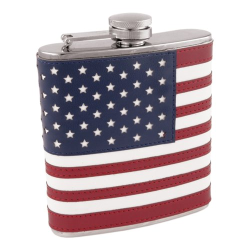 American Flag Flask in Stainless Steel and Faux Leather by Foster and (Flag Stainless Steel Flask)