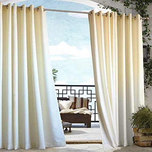 Commonwealth Home Fashions Outdoor Decor Gazebo Outdoor Grommet Top Curtain Panel-Natural, 50 x 108