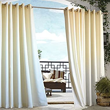 Outdoor Decor Gazebo Outdoor Grommet Top Curtain Panel-Natural, 50 x 108