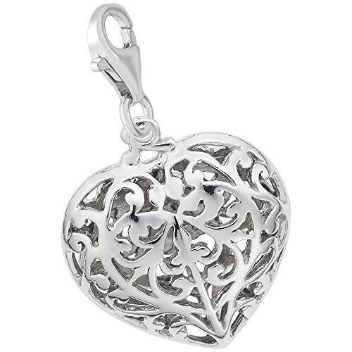 Sterling Silver Filigree Heart Charm (Sterling Silver Filigree Heart Charm With Lobster Claw Clasp, Charms for Bracelets and Necklaces)