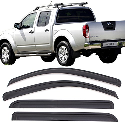 Window Visor fits 2005-2016 Nissan Frontier Double Cab | Acrylic Unpainted Black Sun Rain Shade Guard Wind Vent Air Deflector by IKON MOTORSPORTS | 2006 2007 2008 2009 2010 2011 2012 2013 2014 2015