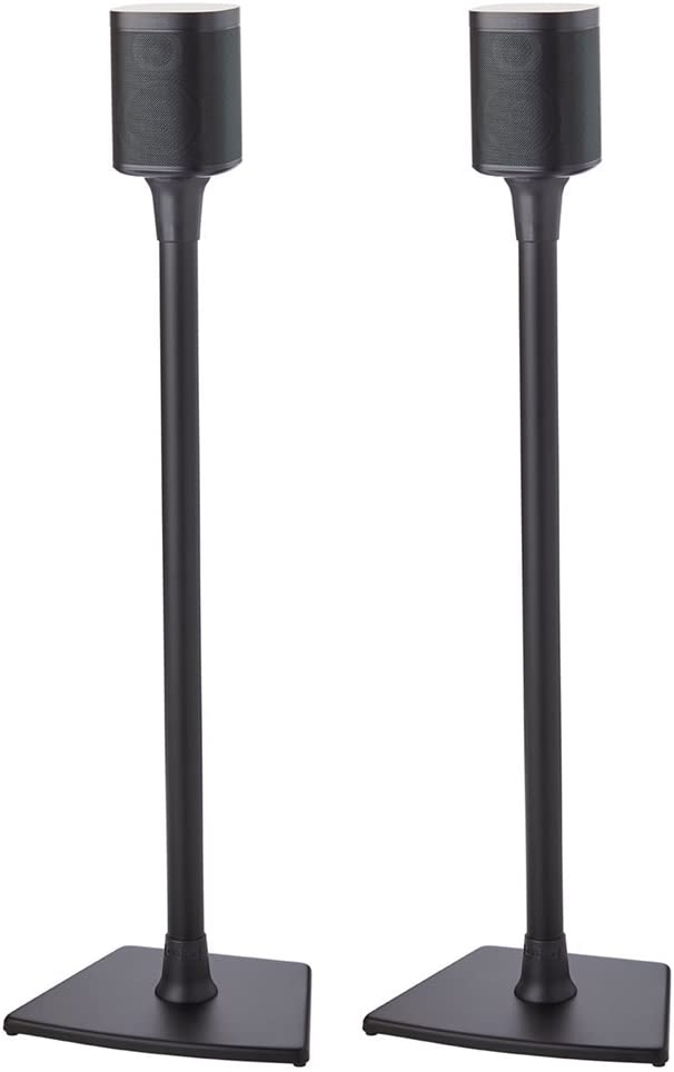 Sanus Wireless Sonos Speaker Stand for Sonos One, One SL, Play 1, Play 3 – Audio-Enhancing Design with Built-in Cable Management – Pair Black – WSS22-B1