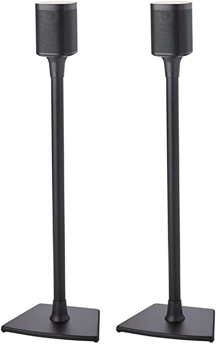Sanus Wireless Sonos Speaker Stand for Sonos One, One SL, Play:1, Play:3 - Audio-Enhancing Design with Built-in Cable Management - Pair (Black) - WSS22-B1
