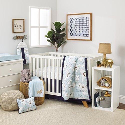 Light 8 Piece Collection - NoJo Dreamer Little Explorer World Map 8 Piece Nursery Crib Bedding Set, Navy Blue/Light Blue/White