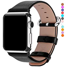 Apple Watch Bands 42mm, Fullmosa Yan Series Lichi Calf Leather Strap Replacement Band with Stainless Metal Clasp for iWatch Series 0 1 2 and Version 2015 2016, Black