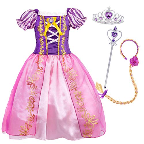 (Cotrio Rapunzel Princess Costume Dress Up Girls Fancy Party Dresses Halloween Outfit Clothes with Accessories for 2-12Years (6, 5-6Years, Wig, Tiara/Crown, Scepter))