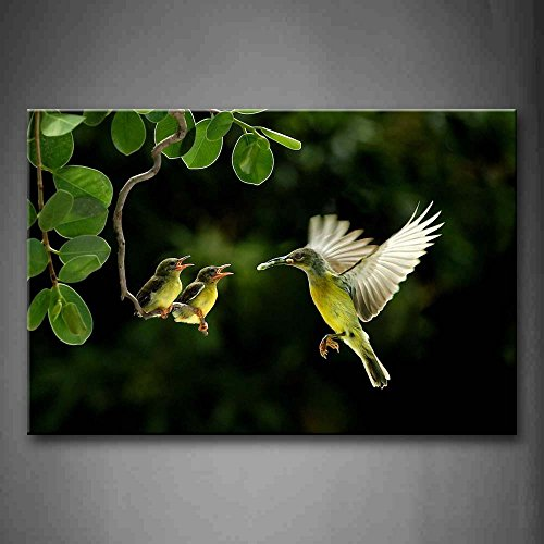 First Wall Art - Mother Hummingbird Fly To Cubs On Branch Wall Art Painting The Picture Print On Canvas Animal Pictures For Home Decor Decoration Gift