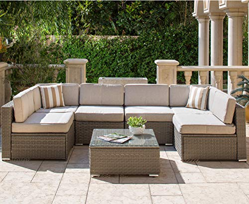 Solaura Outdoor Furniture Set 7-Piece Wicker Furniture Modular Sectional Sofa Set Light Gray Wicker Light Gray Olefin Fiber Cushions & Sophisticated Glass Coffee Table with Waterproof Cover (Sectional Furniture Outdoor)