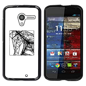 Paccase / SLIM PC / Aliminium Casa Carcasa Funda Case Cover - Eifel Tower Paris Construction Engineer - Motorola Moto X 1 1st GEN I XT1058 XT1053 XT1052 XT1056 XT1060 XT1055