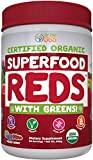 USDA Organic  Superfood  Vital Reds Powder by Feel Great 365 | Fruits, Vegetables, Probiotics, Digestive Enzymes & Polyphenol Supplement  | 40+ Greens & Super Foods