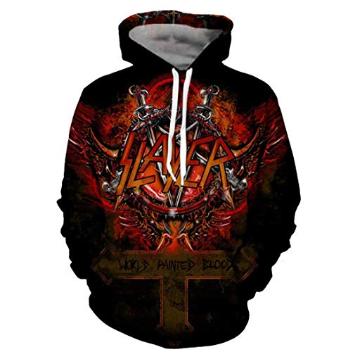 Slayer Hoodies for Men 3D Print Hooded Sweatshirts Pullover Hip Hop Rock Hoodies Photo Color 4XL (Speciality Apparel)