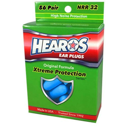 HEAROS Xtreme Protection 56 Pairs Blue Foam Ear Plugs, With The Highest NRR 32 Foam Earplug Rating, Providing The Best In Class Hearing Protection