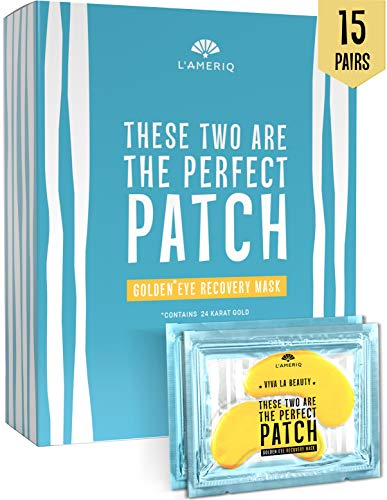 Under Eye Patches Gold Eye Masks for Puffy Eyes - Dark Circles Under Eye Treatment - Natural Under Eye Mask - Face Skin Recovery Eye Pads - Anti-aging Bags Treatment for Men and Women (Best Peel For Under Eye Wrinkles)