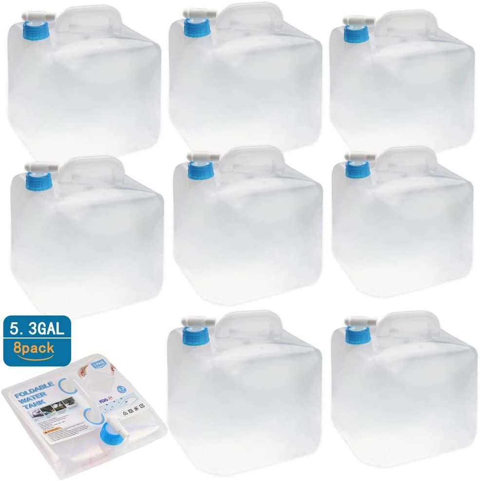 Zekes' Collapsible Water Storage Container - 5 Gallon Camping Water Container Portable Folding Water Cube Emergency Water Storage BPA Free