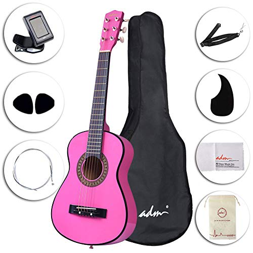 ADM Beginner Acoustic Guitar 30 Inch Steel Strings Blue Bundle Kit with Gig Bag, Tuner, Strings, Strap, and Picks