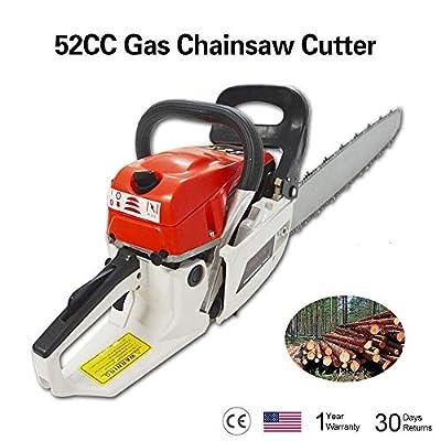 """kuryllc 22"""" 52CC Gasoline Chainsaw Cutting Wood Gas Sawing Aluminum Crankcase Chain Saw"""