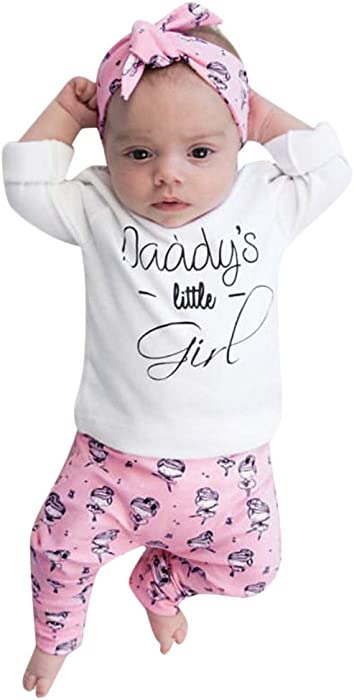 Amazon Baby Clothes Set Letter Long Sleeves T Shirt Tops Pants Headband Outfits Outfit Clothing