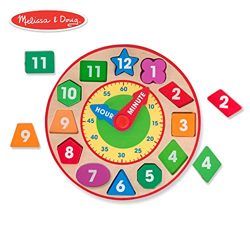 (Melissa & Doug Shape Sorting Clock (Developmental Toy, Sturdy Wooden Construction, Develop Time-Telling Skills, 10