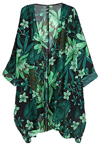 WEIYAN Women's Tops Loose Chiffon Kimono Cardigan Beach Swim Cover up Blouse (Cream2, Large)
