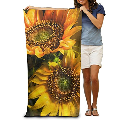 Lovely Embroidered - Sexy Lovely Handsome Orange Sunflower Wallpaper Quick-drying Pool Beach Towel Travel Bath Towel For Adults