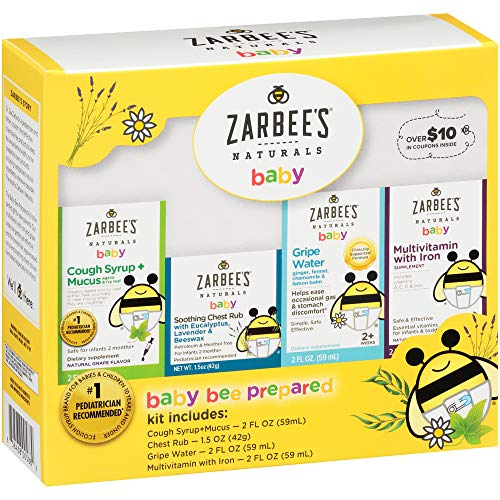 Zarbee's Naturals Baby Bee Prepared Kit with Cough Syrup* + Mucus, Chest Rub, Gripe Water & Multivitamin (Parents Kit Survival New)