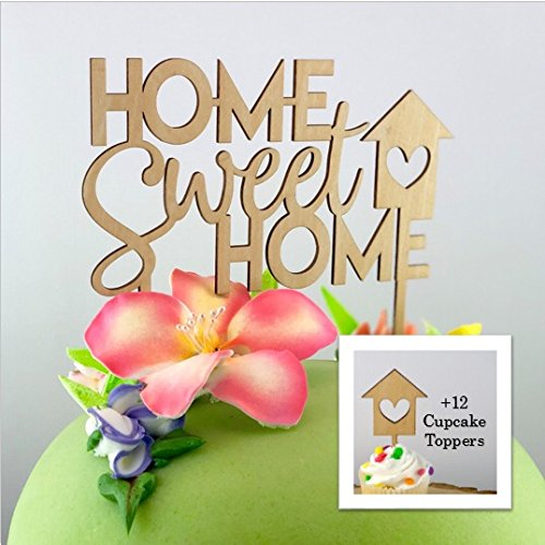 Home Sweet Home Cake Topper & Cupcake Toppers Set, Housewarming Gifts, Realtor Gifts, Moving Gifts, Open House Decor by Cheers to Charm