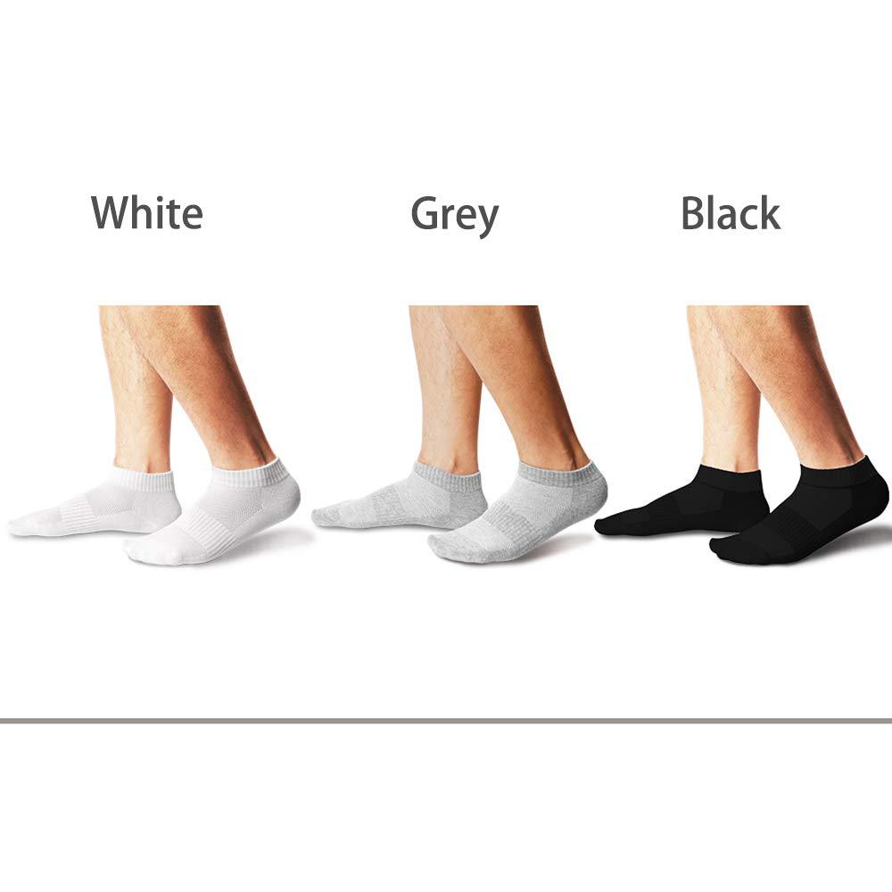 AVANTMEN Men\'s Ankle Socks 10 Pack Solid Low Cut Running Athletic Cotton Socks Moisture-wicking Casual Use 4 Seasons (Black 4 + White 3 + Grey 3)