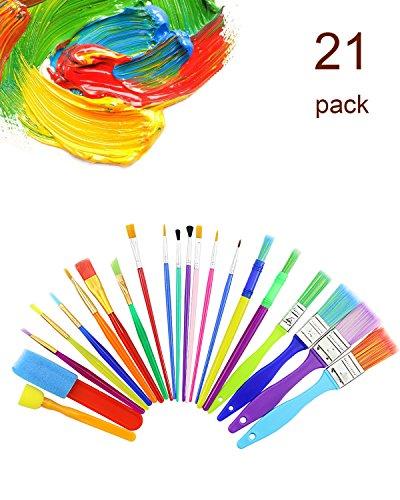 (DEEBF Toys Artist Studio 21 Colorful Brushes,Art Supply Large Flat Chubby Hog Bristle Children's Tempera and Artist Paint Brushes)