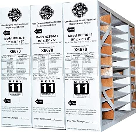 2 Pack of X6670 Lennox OEM Merv 11 Filter Media 16X25X5 Fits X6660 HCC16-28 Genuine Lennox X6670