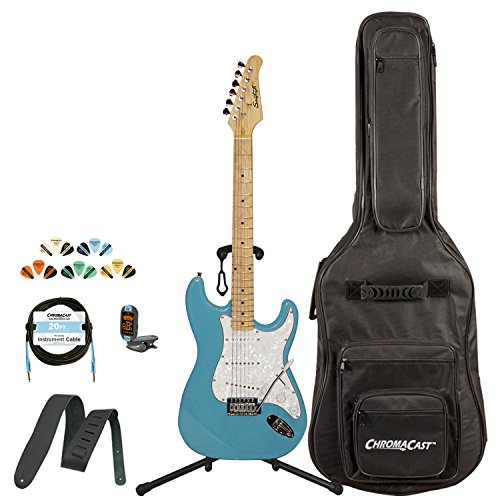 - Sawtooth Classic ES 60 Alder Body Electric Guitar - Classic Aero Blue with Pearl White Pickguard, ChromaCast Gig Bag & Accessories
