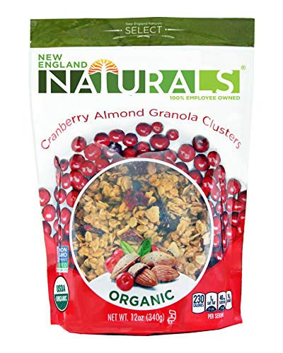 New England Naturals Organic Cranberry Almond Granola Clusters, 12 Ounce Pouch Non-GMO, USDA Organic, Kosher, Cranberry & Almond Granola Cluster Breakfast Cereal