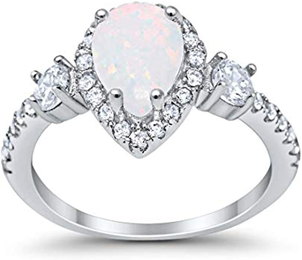 Blue Apple Co. 3-Stone Halo Teardrop Fashion Bridal Ring Pear Created White Opal Round Cubic Zirconia 925 Sterling Silver Sterling Silver Choose Color