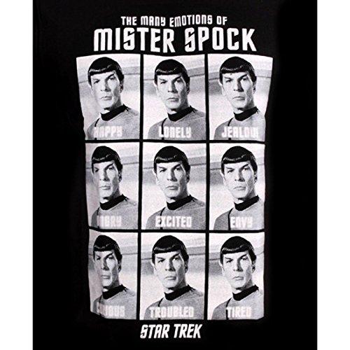 Star Trek - T-shirt di Spock con motivo Emotions of Mister - Licenza ufficiale - Nero - L