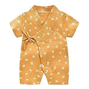 Bébé Kimono Barboteuse Coton Infant Manches courtes Body Pyjama Mignon Japonais Enfants Outfit Garçons et Filles Jumpsuit Toddler Playwear 6
