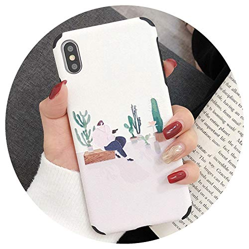(3D Relief Cactus Soft Anti-Knock Cases for iPhone XR XS Max X 6 6S 7 8 Plus Fashion Splice Illustrator Colorful Back Cover,Style 1,for iPhone XR )