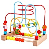 YIRAN Wooden Fruits Bead Maze Roller Coaster Game Educational Toys for Toddlers Kids