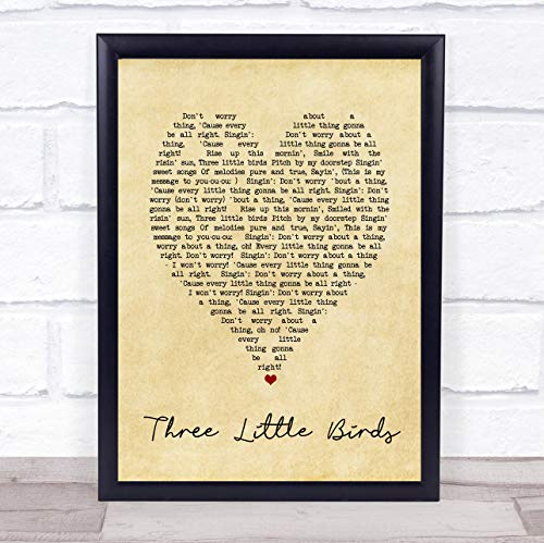 Three Little Birds Vintage Heart Quote Song Lyric -