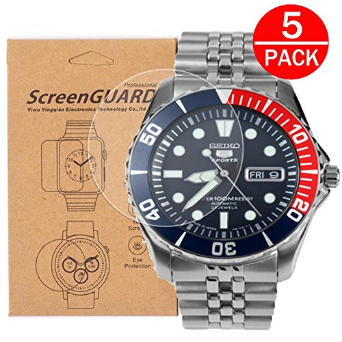 [5-Pack] For Seiko SNZF15 Watch Screen Protector, Full Coverage Screen Protector for Seiko SNZF15/SNZF15K1/SNZF15J1 Watch HD Clear Anti-Bubble and (5 Superior Automatic Mens Watch)