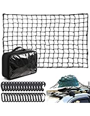 """4x6Ft Cargo Net with 16 Aluminum Carabiners +16 ABS Hooks,Small Tight 4""""x4"""" Mesh Bungee Cargo Net,Latex Cargo Net for Pickup Truck Bed and SUV Rooftop Travel Luggage Rack"""